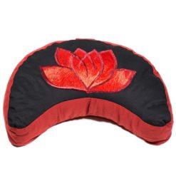 Coussin méditation Demi-lune lotus noir et rouge