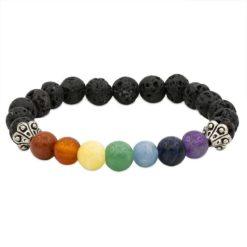 Bracelet 7 chakras pierre de lave