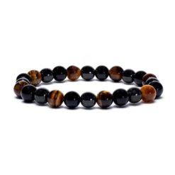 Bracelet élastique hématite,obsidienne,œil de tigre - 8mm