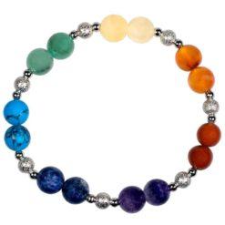 Bracelet 7 chakras avec boules metal